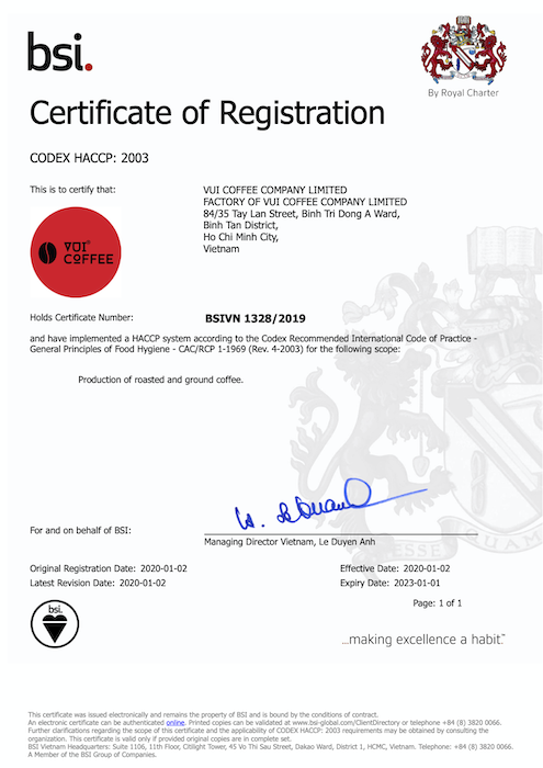 BSI cấp chứng nhận HACCP cho VUI COFFEE